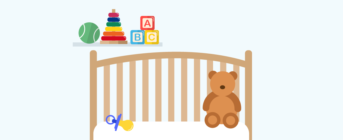 Illustration of a babies room with their toys