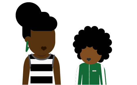 Illustration of young person with their parent or carer