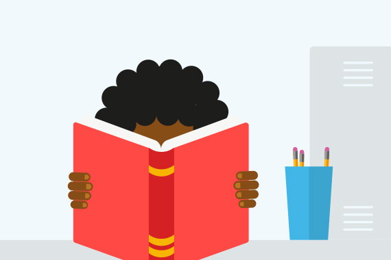 Illustration of young person reading
