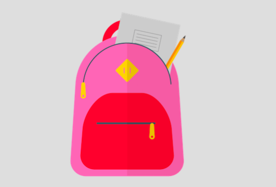 Illustration of school bag and supplies
