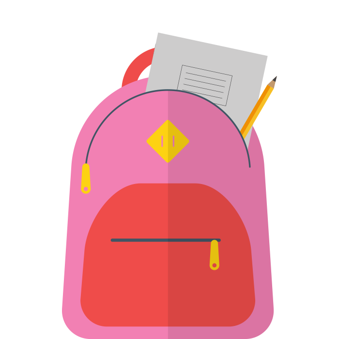 Illustration of school bag with school supplies