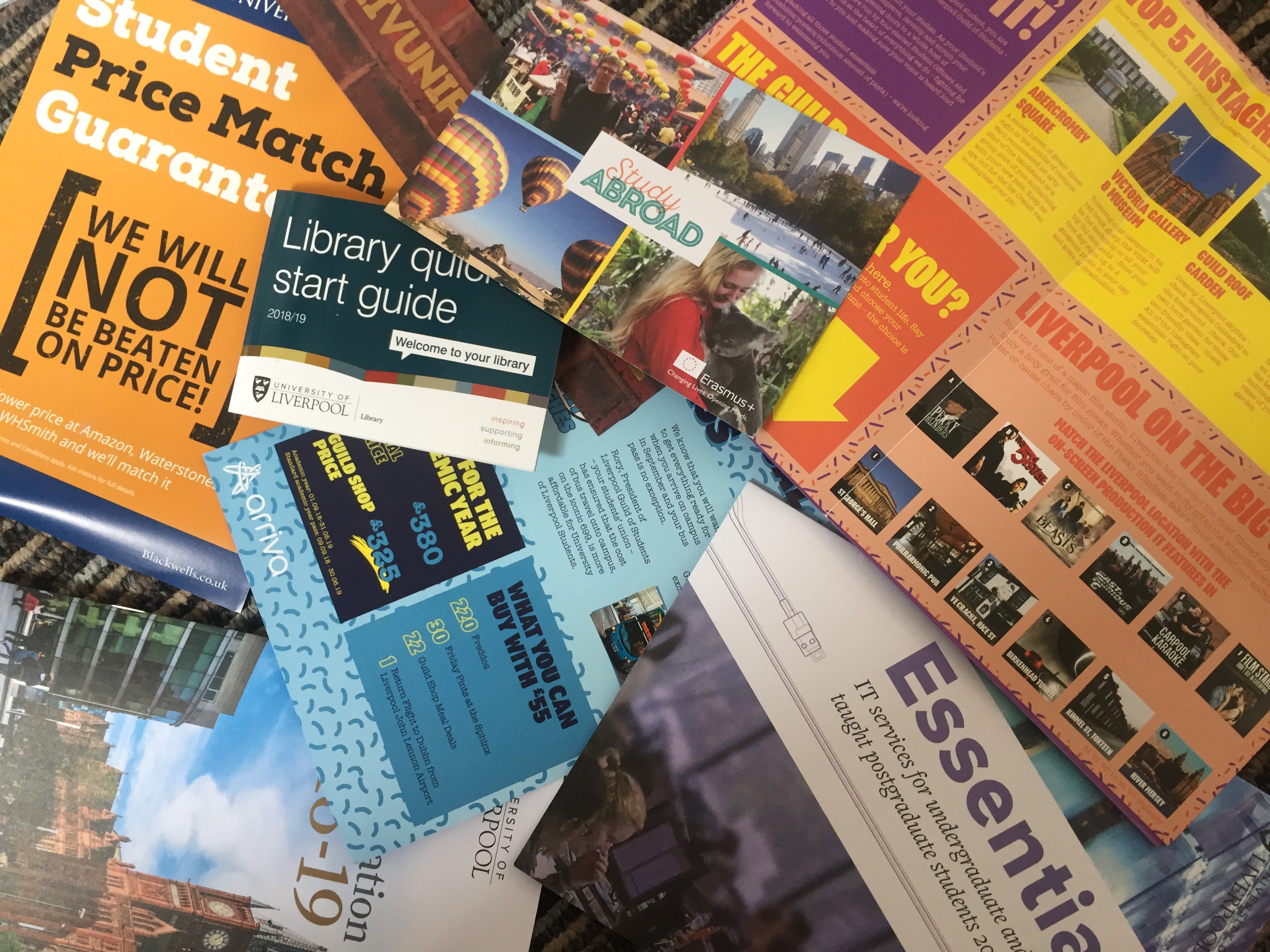 University brochures and leaflets