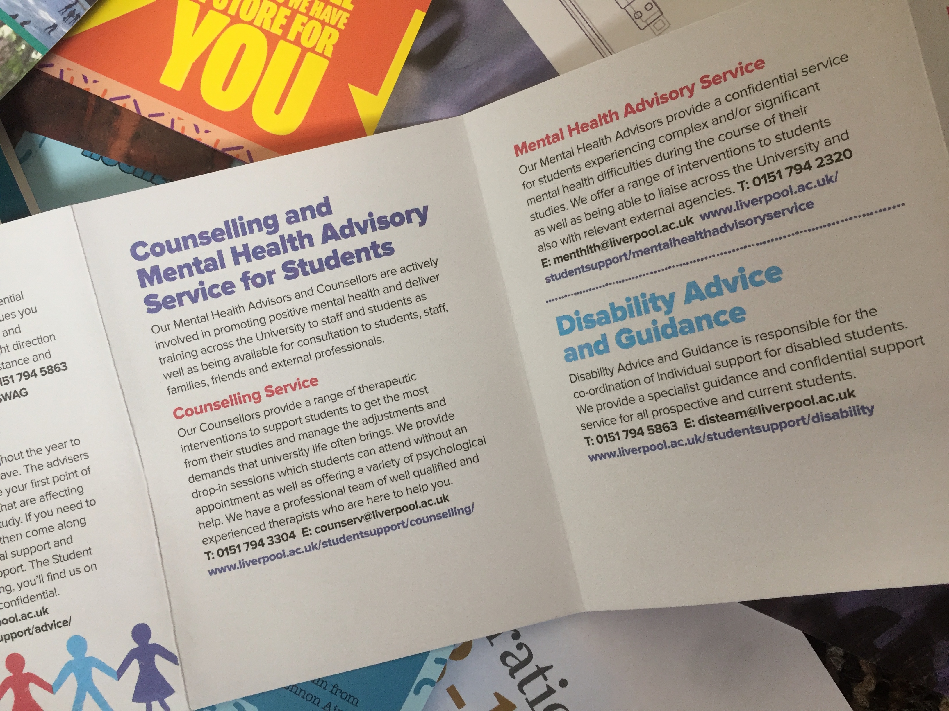 Brochure for university students to advertise counselling services and disability advice