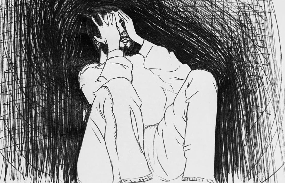 Illustration of a male struggling to cope