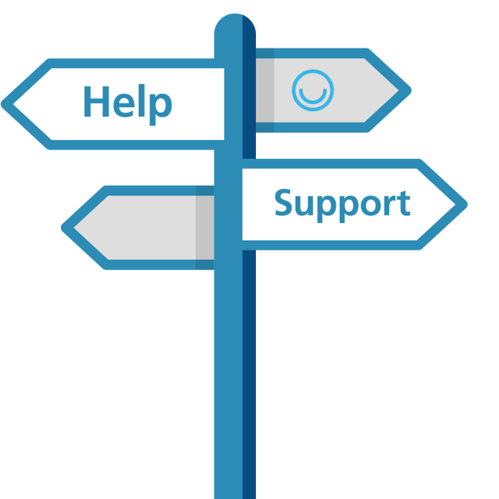 Blue signposts with MindMate logo and the words Help and Support