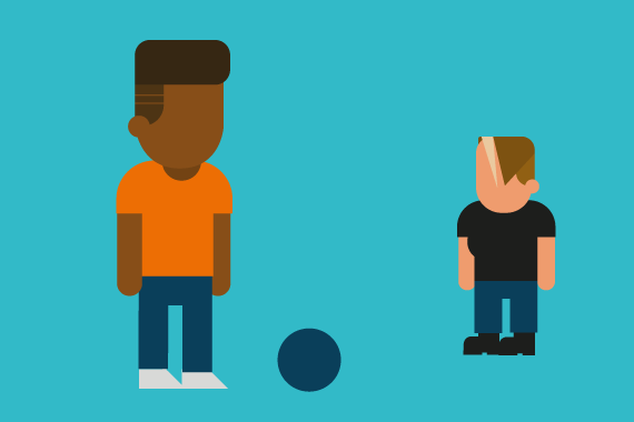 Two different illustrated characters with a ball in between them