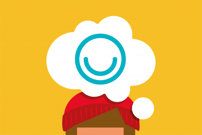 Illustrated character with thought bubble above their head with MindMate logo in the middle