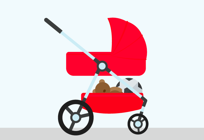 Red pram with childrens toys in the basket