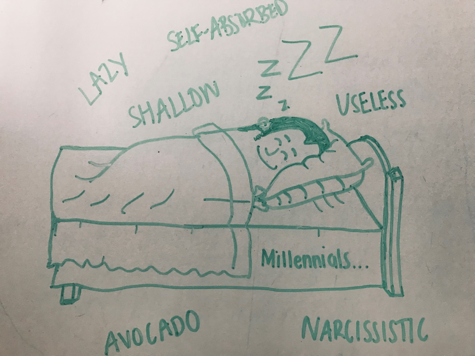 Felt tip pen drawing of a young man in bed with the word Millennial on his sheets and the words lazy, shallow and useless surrounding him