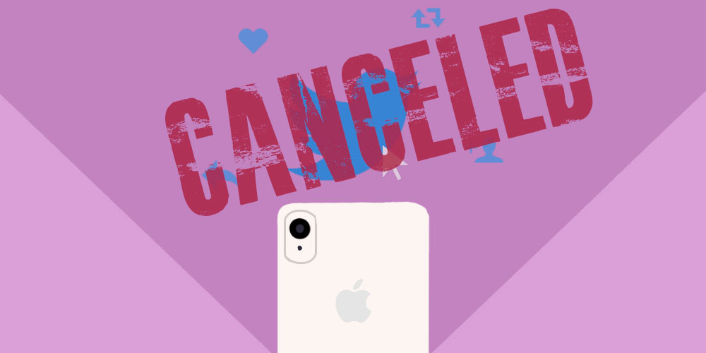 The Twitter logo with the word 'CANCELED' over the top of it