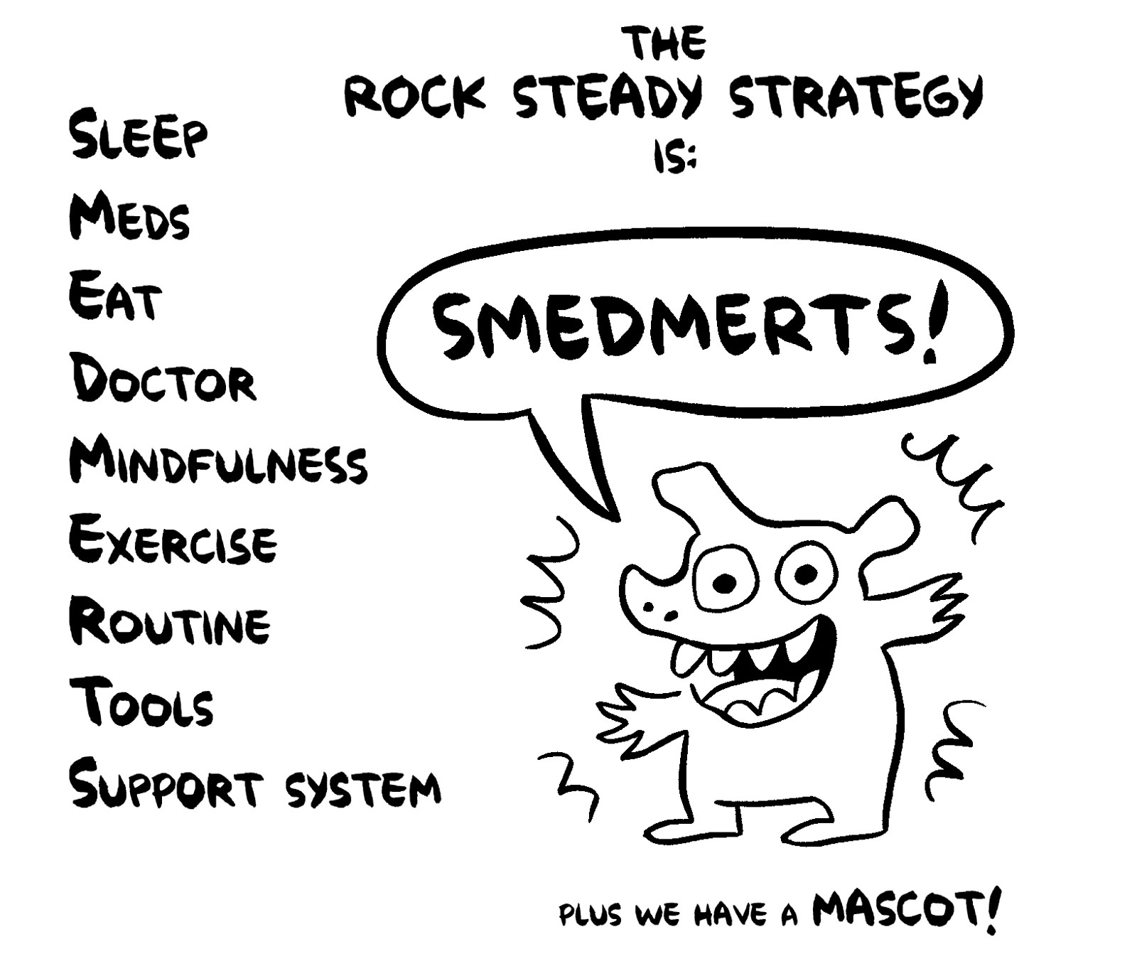 The rock steady strategy is SMEDMERTS plus we have a mascot